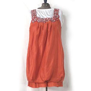 BCBGMaxAzria Embroidered Silk Apricot Bubble Dress